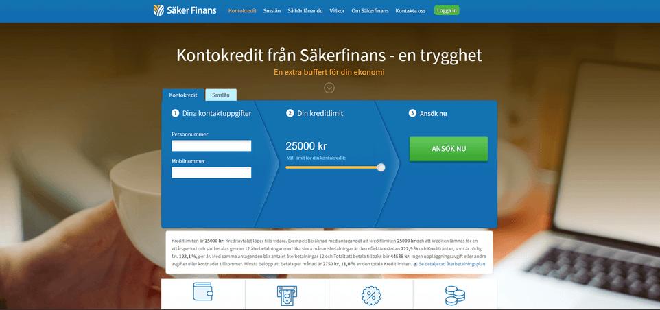 Säkerfinans skärmdump